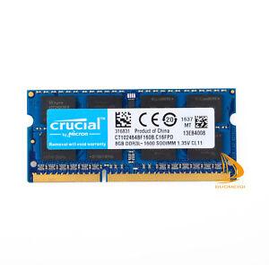 DDR3L Crucial 8GB Memory PC3L-12800S 1600Mhz SODIMM Laptop RAM 1.35V CL11 NONECC