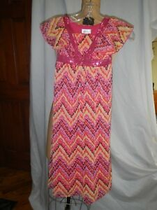 JUSTICE GIRL PRETTY LONG DRESS-BUTTERFLY SLEEVE-PINK FLORAL w/SEQUIN DECO-SIZE 6