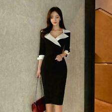 Womens 2021 New Fashion Lapel Black White Hip Package OL Formal Pencil Dress DET