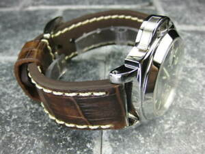 22mm BIG CROCO Leather Strap Antique Brown Thick Watch Band White for PANERAI