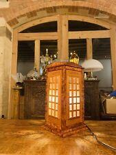 Solid Burr Walnut Telephone Box Table Lamp, Art Deco Style Handmade & Glass