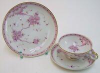 Sammeltasse 3tlg.  Porzellan Krone W 1764 Wallendorf weiß & rosa Kirschblüten