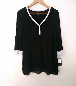 DKNY Women's Scoop Neckline Pajama Top Size medium Color Black Relaxed