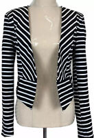 Portmans Womens Black/White Striped Long Sleeve Lined Bolero Jacket Size 8