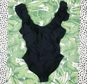 J. Crew Long torso ruffle scoopback one piece swimsuit Black AV683 Swim New12
