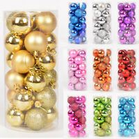 Glitter Christmas Baubles Xmas Tree Ornament Ball Christmas Decor 30/40/60/80mm