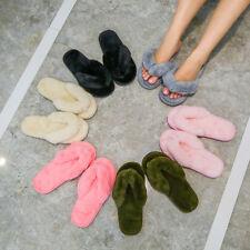 Ladies Womens Flip Flop Slippers Memory Foam Indoor Faux Fur Thong House Shoes