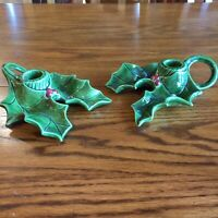 Vtg Ceramic Christmas Holly Berry Candle Stick Holders 2 Pcs