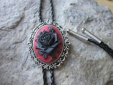 Black Rose on Red Cameo Unisex Bolo - Bola Tie - Necklace - Choker - Mourning