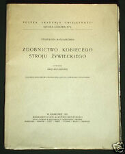 RARE BOOK 1931 Polish Folk Costume Zywiec lace embroidery pattern ethnic POLAND