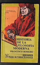 Francisco Romero Historia De La Filosofia Moderna FCE Breviarios 150 1978 Mexico