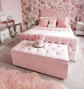 Blush Pink Plush Velvet Chesterfield  Monaco Sleigh  Bed Frame with diamante