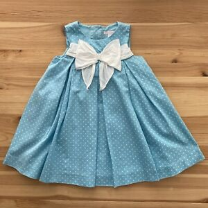 JANIE AND JACK Summer Rose Blue Dot Bow Dress Size 2T