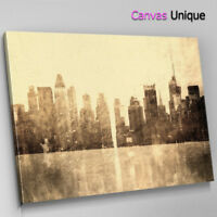 SC324 Old New York Faded Scenic Wall Art Picture Large Canvas Print