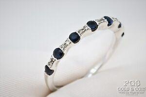 Sapphire Diamond Eternity Ring 14k White Gold Size 8 2.2grams 22441