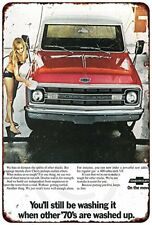 "1970s Chevy Pickup Truck Advertisement Retro Metal Sign 8"" x 12"""