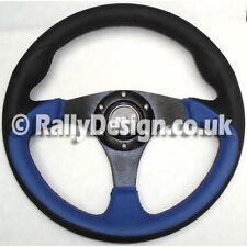 Volante 320mm Negro Y Azul Cuero-Negro Radios Carrera Rally SVi-4119BBB