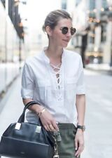 New Madewell Terrace Lace Up Shirt Top Blouse White Sz M Medium F0772