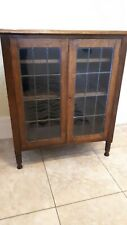 More details for antique oak bookcase with leaded glass doors