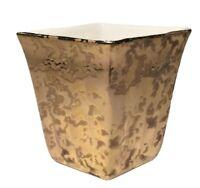 Vintage Losange Shaped 24KT Gold Ceramic Vase Pottery Planter Made In The U.S.A
