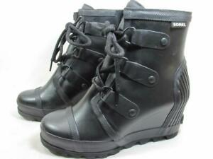 Sorel Joan Rain Boot Wedge Waterproof Women size 7.5 Black