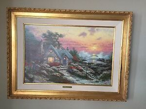 """REDUCED! Thomas Kinkade's, COTTAGE BY THE SEA""""  S/N Canvas Lithograph #56/980"""