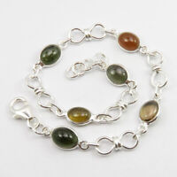 """925 Solid Sterling Silver Tourmaline Chain Bracelet 8.3"""" New Gift"""