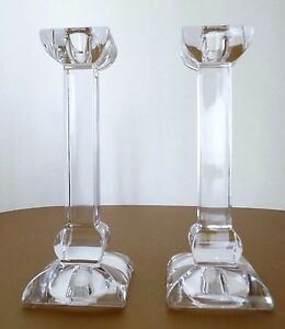 Set of 2 Villeroy & Boch Crystal Glass Candle Stick Holder 7 3/4""