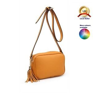 Small Cross Body Messenger Shoulder Woman Girl Plain Tassel Faux Leather Bag