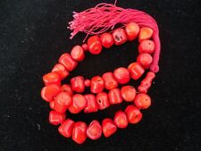 BEAUTIFUL POLISHED ORANGE RED CORAL PRAYER BEADS NECKLACE TYPE 115 GRAMS