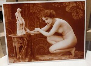 ORIGINAL FRENCH RISQUE EROTIC NUDE Leo PARIS? 30 circa 1910-30  PHOTO Sepia