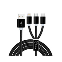 3 in 1 Multi USB Charging Cable 6 FT Lightning, Type C & Micro Compatible