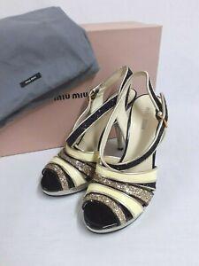 "New Miu Miu shoes silver, glitter, black & yellow 4"" heel & .5"" platform 35 UK2"