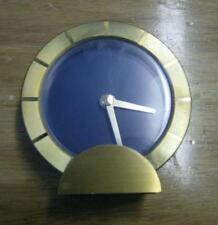 Stylish Bey Berk brass case small quartz clock . Blue dial . Working