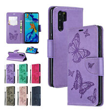 Magnetic Patterned Stand Flip Butterfly Card Wallet Case Cover For Huawei Phone