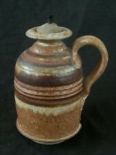 "Vintage studio pottery stoneware oil lamp 5.5"", hallmarked DE"