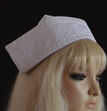 WHITE FABRIC NURSE HAT with 2 buttons STAFF MATRON CAP nurse's LACE PANEL & TRIM