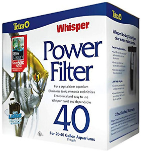 Whisper Power Filter For Aquariums 3 Filters in 1 Clear Water Up to 40-Gallons