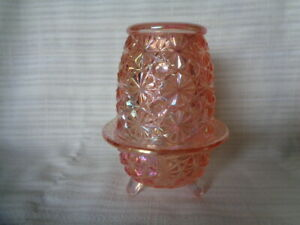 LE Smith Pink Carnival Glass 3 Legged Candle Fairy Lamp Daisy & Button Pattern