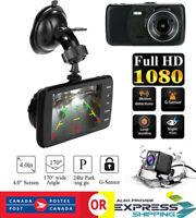 "4""Dual Lens Dash Cam Car DVR 1080P Front and Rear Video Recorder Camera G-sensor"