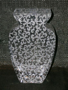 Nirvana Flower Vase by Badash Crystal Mouth Blown Frosted Scroll Etching