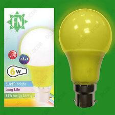 1x 6W LED Yellow Coloured GLS A60 Light Bulb Lamp BC B22, Low Energy 110 - 265V