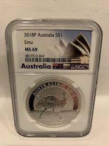 2018 P AUSTRALIA SILVER $1 EMU NGC MS69