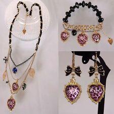 NEW Betsey Johnson Fashion leopard peach heart pearl necklace bracelet earrings!