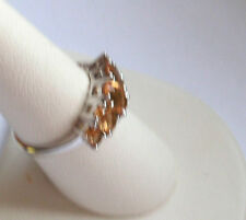 .925 Sterling Silver, 5 Stone Oval Citrine Ring, Size 7.5, New With Tag