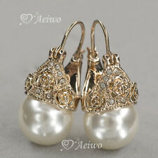 9K GF 9CT GOLD MADE WITH SWAROVSKI CRYSTAL PEARL EARRINGS STUD ROSE