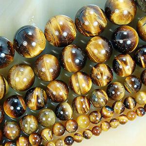 "Natural Yellow Tiger Eye Globose Beads 15.5"" 4 6 8 10 12 14mm Pick Size"