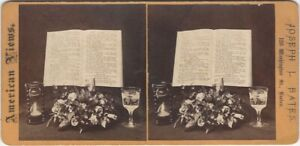 Psalm 19 Bible with Flowers & Glasses Boston Stereoview Card with Advertisement