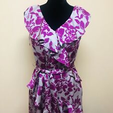 Elle Dress Women's Size 6 Ruffles Tie Waist Sleeveless Floral Sheath