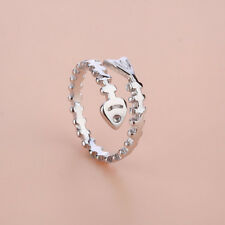 925 Sterling Silver Fish Bone Open Ring For Women Ancient Style Plume Adjustable